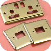 Gold finished switch plates